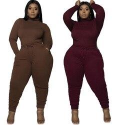 Conjunto de 2 piezas de tela de talla grande para mujer, pantalones largos informales, S-XXXXXL