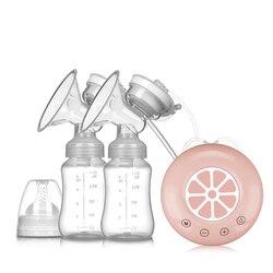 Двойной молокоотсос, электрический молокоотсос с бутылкой, лимон, для младенцев, USB, без бфа, мощная грудь, насос для кормления ребенка T2259