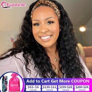 Headband Wig Human Hair Half Wig with Scarf Brazilian Deep Wave Cheap Human Hair Wigs for Black Women Remy Hair Gabrielle
