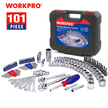 WORKPRO 101PC Mechanic Tool Set Home Tools for Car Repair Tools Sockets Set Ratchet Spanners Wrench workpro 123pc tool set hand tools for car repair ratchet spanner wrench socket set professional car repair tool kits