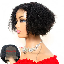 цена на Aliballad 4x4 Lace Closure Wig Remy Mongolian Afro Kinky Curly Wigs Short Human Hair Wigs For Women 150% Density Lace Front Wigs
