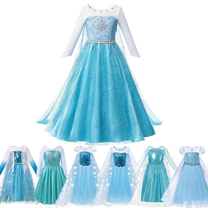 MUABABY/платье Эльзы для девочек; Фантазийный Детский костюм принцессы с синими блестками и снежинками; Детские вечерние костюмы на Хэллоуин; ...