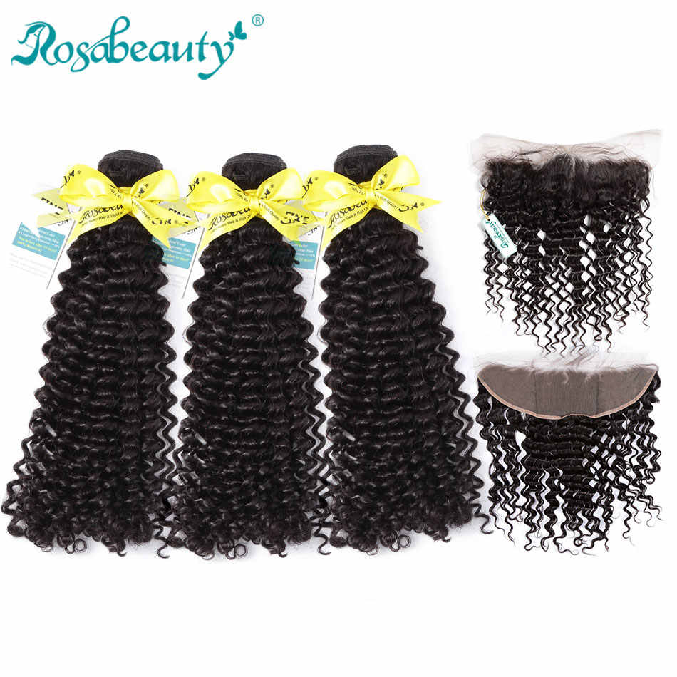 Rosabeauty 3 Bundles Deep Wave Bundles With Lace Frontal Closure 8A Brazilian Hair Weave Remy Hair Extensions Ear to Ear Frontal