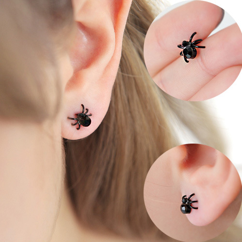 Tiny Spider Stud Earrings Cute Funny Earrings Punk Unisex Jewelry For Women Men