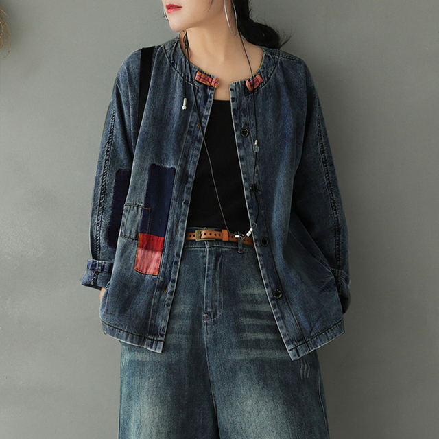 SOUL OF TIGER Autumn Chinese Style Ladies Fashion Designs Clothes Vintage Jackets Denim Coats Womens Gothic Streetwear Plus Size