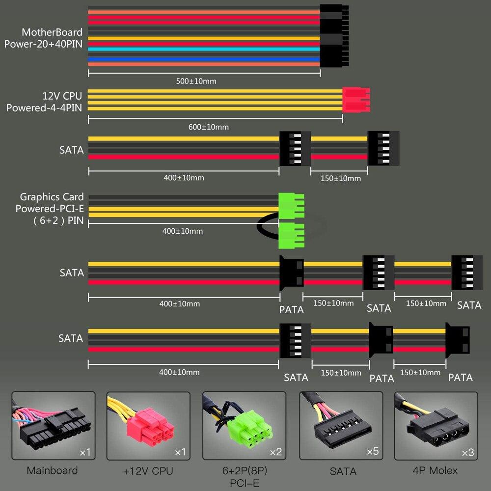 GameMAX VP-600-M-RGB RGB PC Power Supply 600W Semi Modular 80+ Bronze PSU PFC Silent Fan PC Computer SATA Gaming PC Power Supply 3