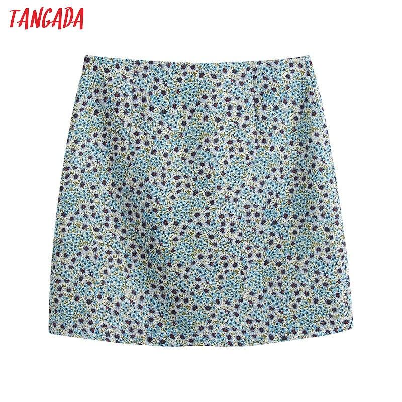 Tangada 2020 New Fashion Women Floral Print Skirts Vintage Faldas Mujer Female Elgant Mini Skirt Ladies BE221