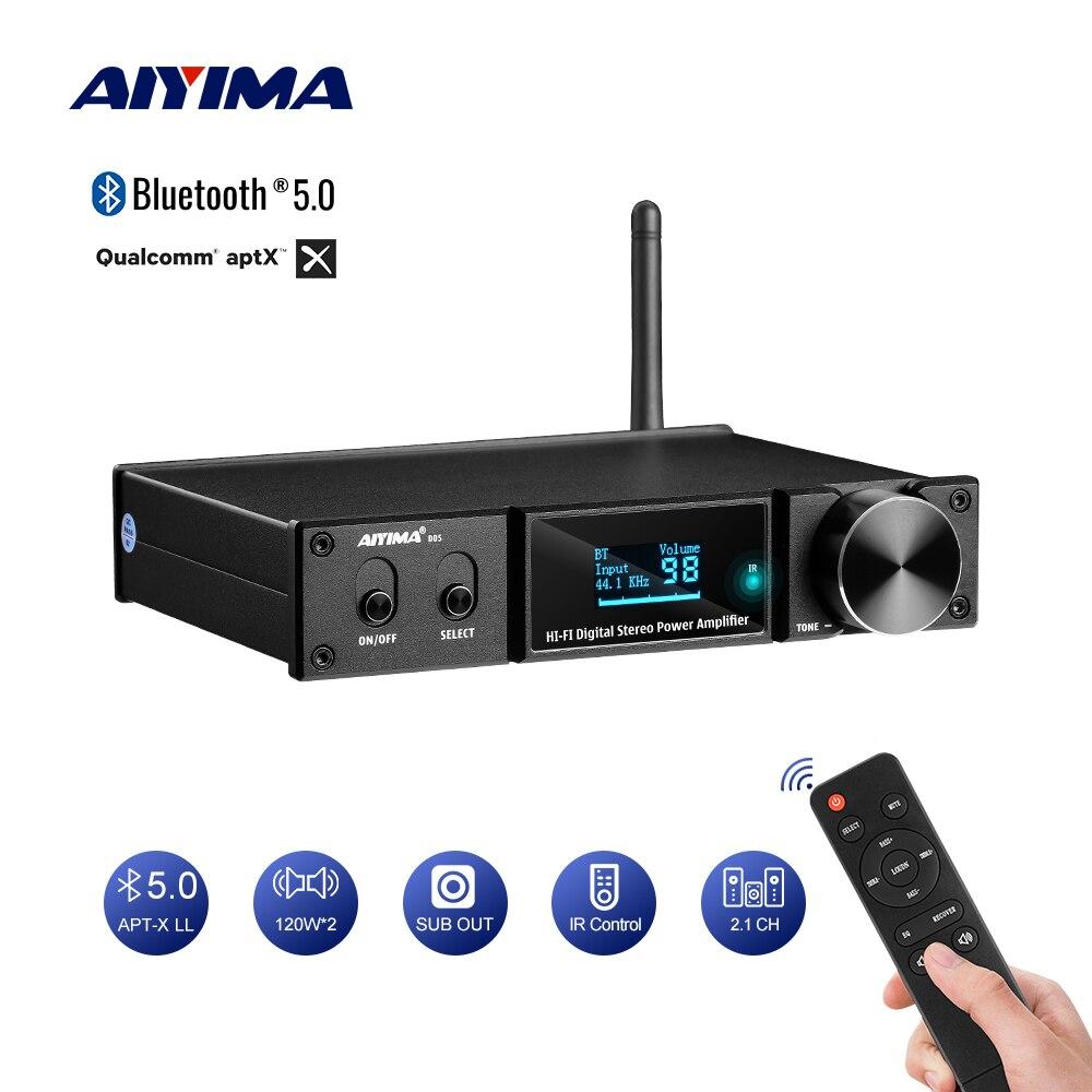 Усилитель мощности AIYIMA, Bluetooth 5,0, 120Wx2, цифровой усилитель звука, усилитель сабвуфера, USB DAC OLED APTX 2,1, домашний кинотеатр
