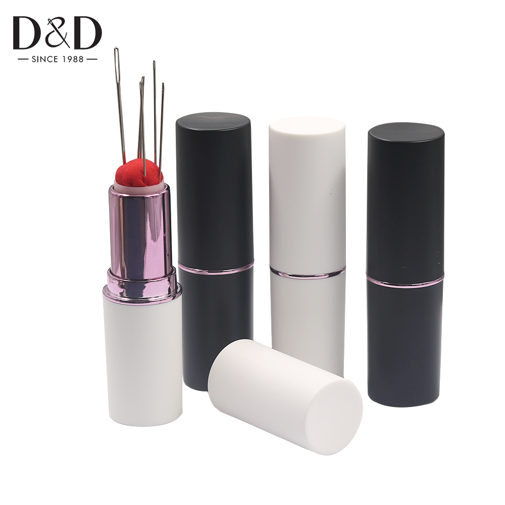 D&D New Lipstick Needle Pin Cushion Retractable Portable Mini Safety Durable Pincushions Pins Holder DIY Needlework Sewing Tools