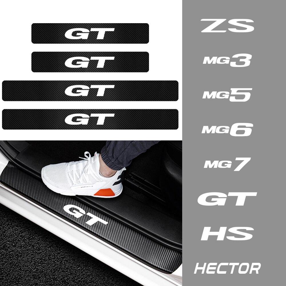 4 pçs estilo do carro de fibra carbono protetor do peitoril da porta do carro adesivos limiar guarda decoração decalques para mg 3 5 6 7 zs gt hs hector