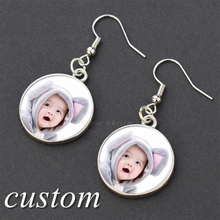 Earring Txt Jewelry Custom-Logo Personalized Fashion Women Gift Glass Photo Ear-Hook