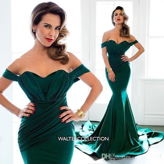 Green Muslim Evening Dresses 2019 Mermaid Off The Shoulder Backless Dubai Saudi Arabic Long Evening Gown Prom Dress