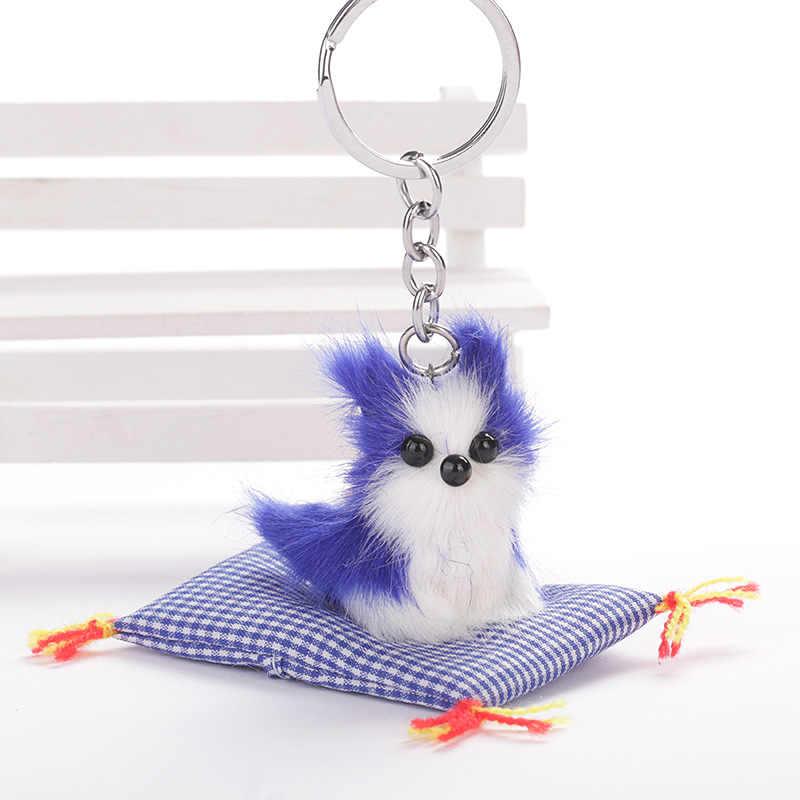Llaveros Plush Puppy ผ้า Plaid Cushion พวงกุญแจผู้หญิง Handmade น่ารักสุนัขน่ารัก PomPom พวงกุญแจกระเป๋าจี้ของขวัญ