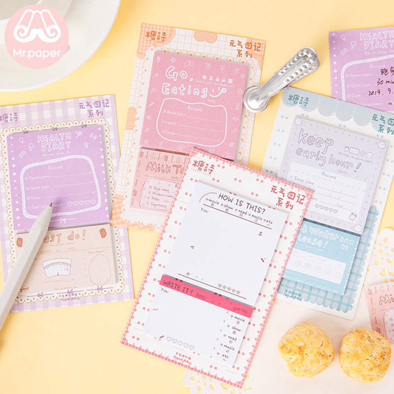 Mr Paper 40pcs/lot Energetic Health Diary Go Eating Keep Early Hour Memo Pads Sticky Notes Notepad Self-Stick Note Memo Pads