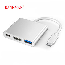 Rankman tipo c para hdmi-compatível 4k usb c 3.0 adaptador vga para macbook samsung s9 dex huawei p30 doca xioami projetor monitor