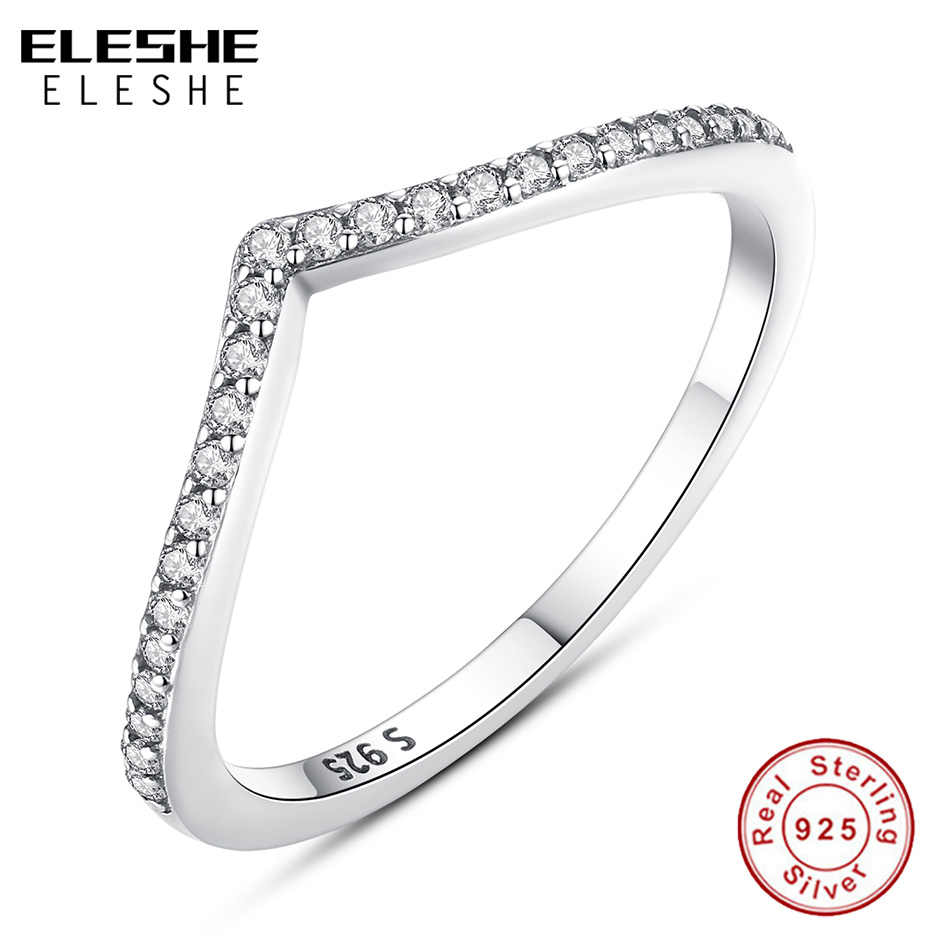 Authentic Real 925 Sterling Silver Wave Wish Ring Stackable Cubic Zirconia Finger Rings For Women Ladies Wedding Fashion Jewelry