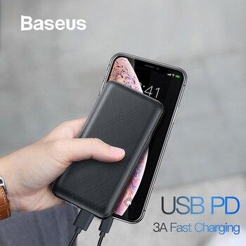Banco de energía Baseus 20000 mAh para iPhone Samsung Huawei Xiaomi batería externa 3A tipo C PD cargador USB de carga rápida powerbank