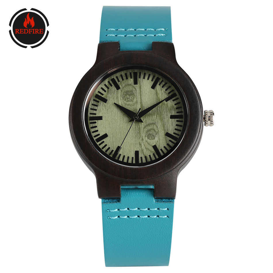 REDFIRE Ins موضة ساعة خشب المرأة الأزرق حقيقية ساعة يد جلدية الحد الأدنى سيدة عادية الساعات الخشبية كوارتز ساعة نسائية
