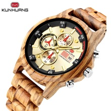 цена на Natural Fashion Wooden Men Quartz Watch 3 Sub Dial Calendar Stopwatch Luminous Zebra Crossing Woody Strap Bangle For Male Clock