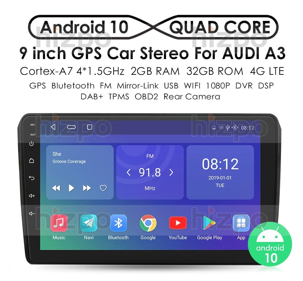 Автомагнитола IPS DSP 4 Гб 2din Android 10, DVD-плеер для Audi A3 8P S3 2003-2012 RS3 Sportback, мультимедийная навигация, стерео головное устройство