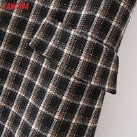 Tangada 2021 Autumn Winter Fashion Women Plaid Woolen Dress Sleeveless Office Ladies Mini Dress 2M203 5