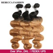 Ребекка Ombre перуанский Body Wave Bundles 3% 2F4 Pcs Remy 100% 25 Human Hair Bundles 2 Tone Color T1B% 2F27% 23 T1B% 2F30% 23 T1B% 2F99J% 23