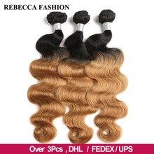 Rebecca – mèches péruviennes 3/4 naturelles Remy, Body Wave, ombré, 2 tons de couleur T1B/27 # T1B/30 # T1B/99J, 100% pièces