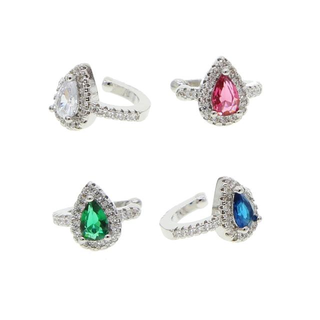 Wit Rood Groen Blauw Kleurrijke Teardrop Zirconia Cz Nee Piercing Oor Manchet Clip On Earring 1 Stuk