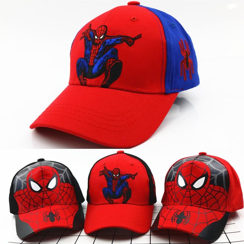 Disney Anime Hat of Kids Boy Girl Travel Sport Caps Spider-Man Baby Caps Figure Gift Toys Headgear 2-8Y Head 48-55cm