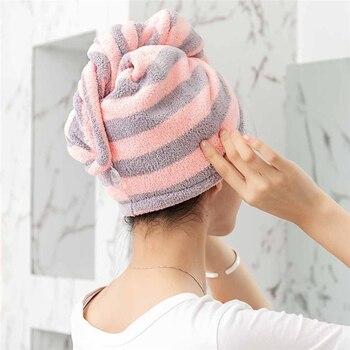 1 Pcs Magic Microfiber Bathing Quick Dry Hair Cap Turban Wrap Towel Hat Bathroom Cute Long Hair Hair-drying Shower Caps