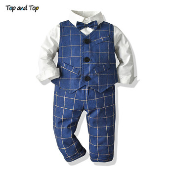 Top and Top Toddler Kids Baby Boy Gentleman Clothes Long Sleeve Bowtie Shirt+Vest+Pant Boys Plaid Outfits Sets for Wedding Party top quality unisex taoism monk costume long sleeve suits shirt and pant lay chinese stand collar uniforms wushu sets