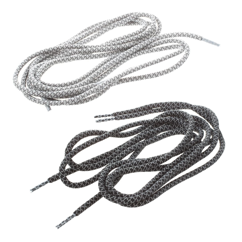 2 Pairs Round Rope 3 Meter Reflective Runner Running Sport Shoe Laces Shoelaces A-Style , Black & Gray