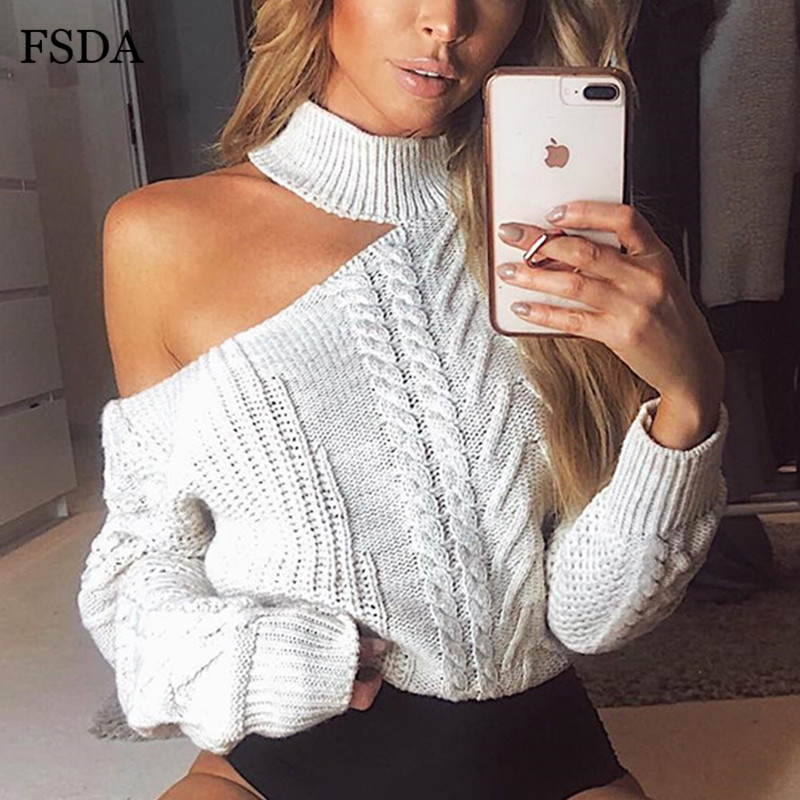 FSDA Off Shoulder Turtleneck Long Sleeve Short Sweater White Red Women Autumn Winter Knitted Pullover Sexy Casual Sweaters