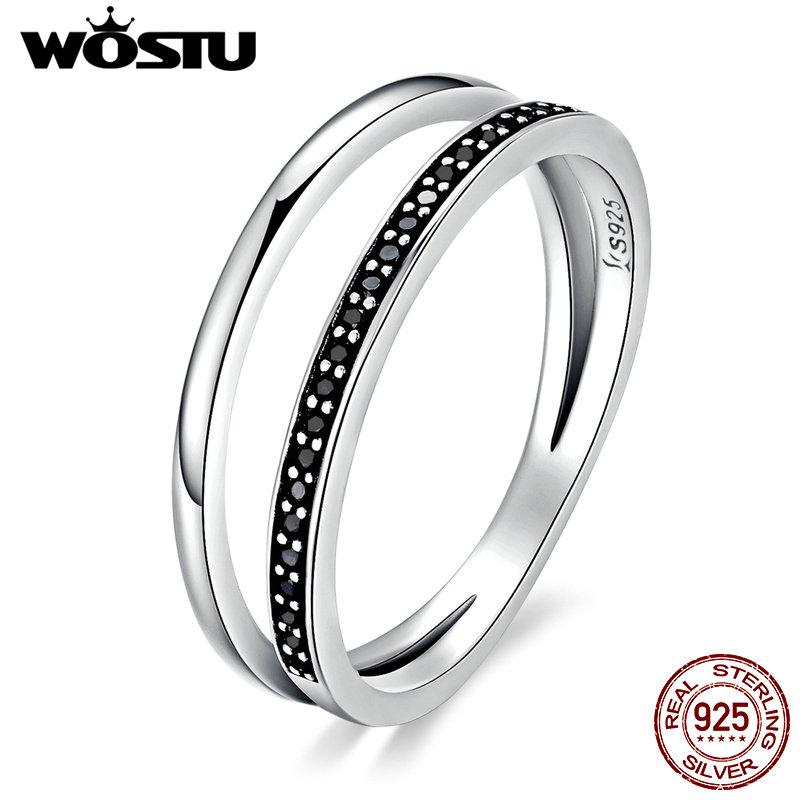 WOSTU New Fashion 100% 925 Sterling Silver Black & White Movement Stackable Rings For Women Luxury S925 Jewelry CQR082(China)