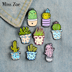 8Styles Potted Plant Enamel Pins Custom Cactus Aloe Brooches Lapel Pin Shirt Bag Catoon Badge Natural Jewelry Gift Kids Friends