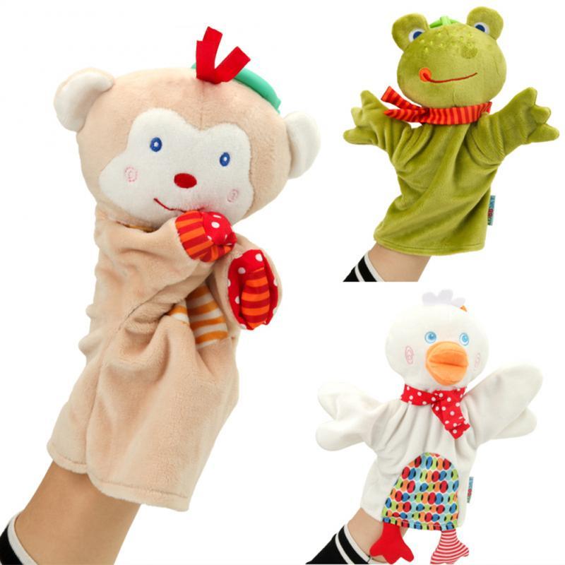 Cartoon Niedlichen Tier Plüsch Spielzeug Puppen Hand Puppe Lernen Baby Spielzeug Tier Handpuppe Pädagogisches Hand Spielzeug Ente Affe Frosch