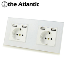 Wall Plug Socket EU DE Double Socket Spain Russia 16A Electrical Outlet With 2100mA Dual USB Charger Port For Mobile 172 * 86mm fiko wall crystal glass panel power socket plug grounded 16a eu standard electrical outlet 86mm 86mm