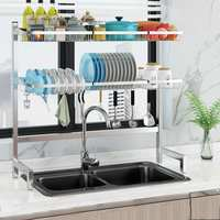 2 Tiers Stainless Steel Dishes Rack Dual Sink Drain Rack Multi use Kitchen Organizer Rack Dish Shelf Over Sink Drying Rack Stand