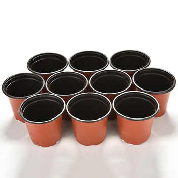 10pcs Mini Plastic Round Flower Pot Plant Succulent Flowerpot Home Office Decoration Planter Artificial Refinement Garden Tools