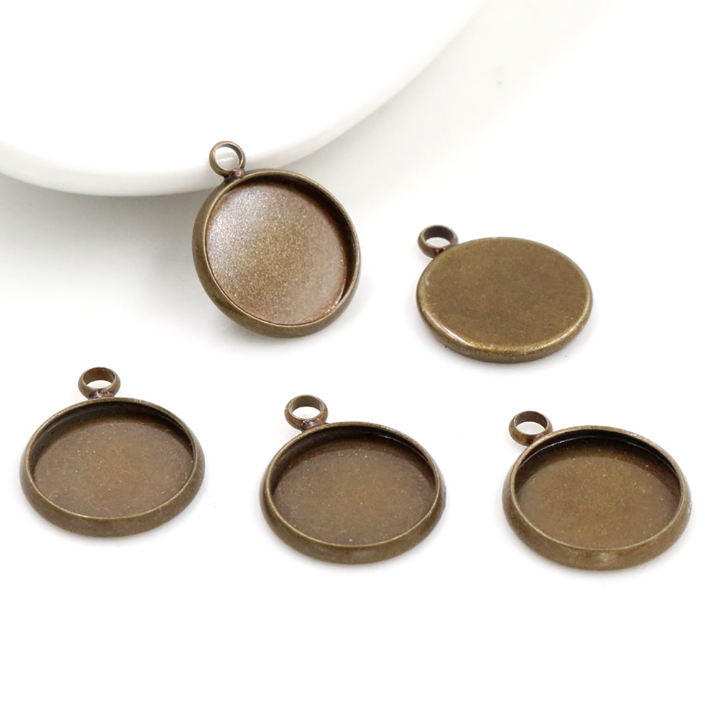 20pcs 12mm Inner Size Bronze Plated Brass Material Simple Style Cabochon Base Cameo Setting Charms Pendant Tray (A1-16)