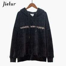 Jielur New Black Velvet Hoodies Thick Chic Femme 2019 Letter Embroidery Hoodie Women Long Sleeve Winter Loose Warm Sweatshirt