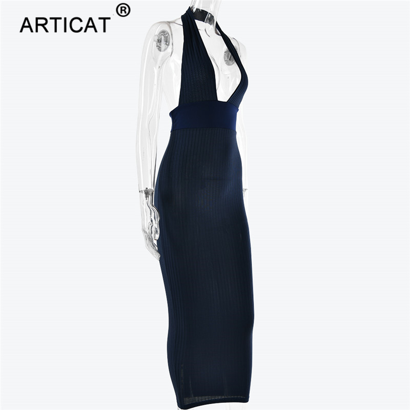 Articat Halter Backless Sexy Knitted Pencil Dress Women White Off Shoulder Long Bodycon Party Dress Elegant Summer Dress 19 14