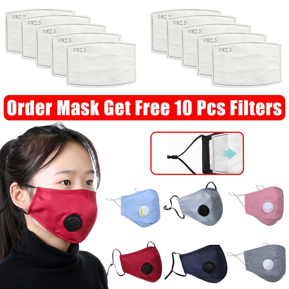 10 Pcs Pm2.5 Filters Breathing Valve Mask Anti-Smog Dust Mask Activated Carbon Washable Masks Filter 5 Layers Replaceable Mask