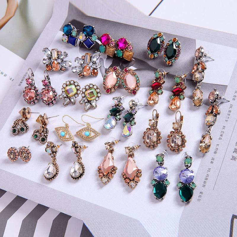 kissme Vintage Style Earrings Multiple Crystal Acrylic Resin Drop Earrings For Women Korea New Fashion Jewelry Wholesale Brincos