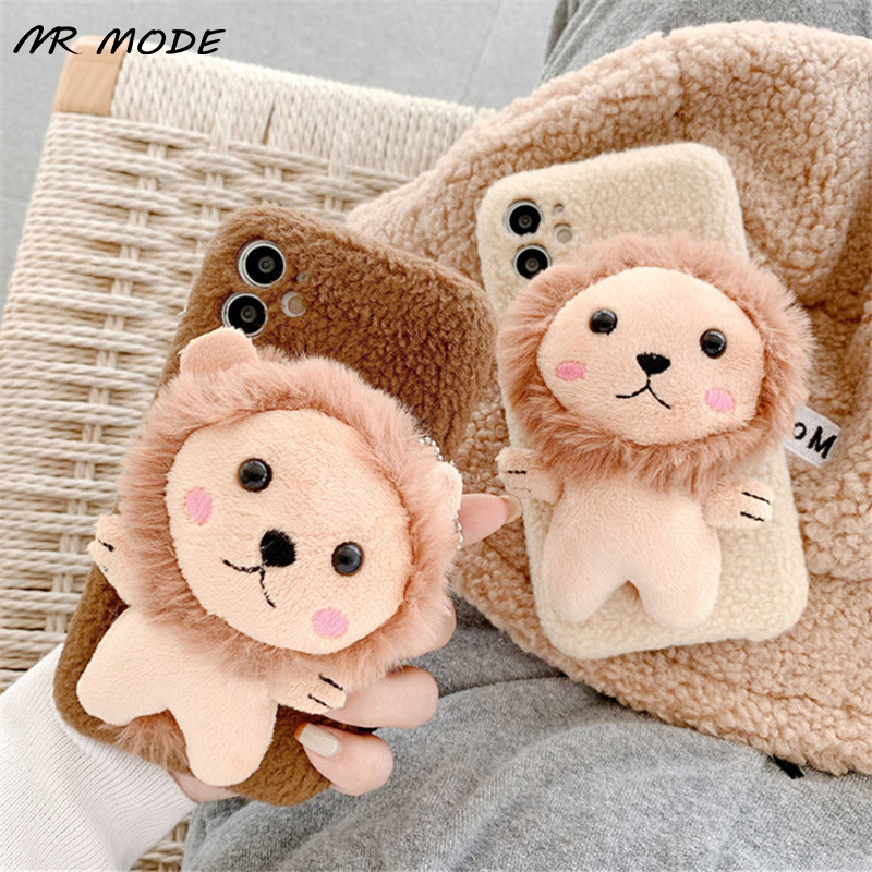3D Cartoons Lion Fur Plush Cover Lovely Phone Case For Iphone 12 Mini 11 Pro MAX XR XS MAX X 7 8 Plus Hairy Back Protective Capa
