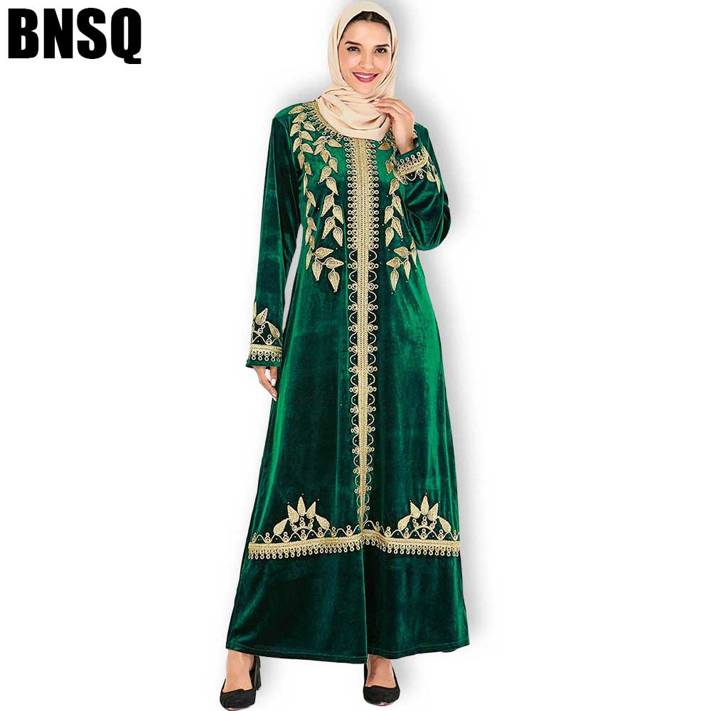 BNSQ Women Maxi Dresses Thickening Velvet Long Sleeve Premium Gold Embroidery Ethnic Winter Wear Female Stylish Dress Arab Abaya