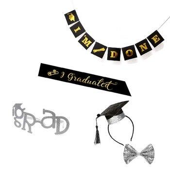 Gold Silvery GRAD Glasses Eyeglasses Graduation Cap Sash Headband Bow Tie Banner Graduate Party Ceremony Celebration