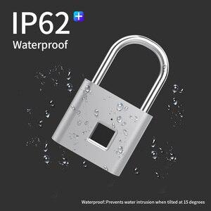 Image 4 - TELESIN Fingerprint Lock Keyless USB Rechargeable Smart Padlock Quick Unlock Zinc Alloy Metal Security For Door Luggage Bag