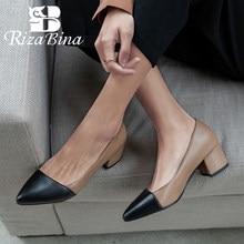 RIZABINA talon carré femmes pompes couleur mixte bout pointu chaussures femmes peu profonde doux dame bureau fête Mujer chaussures taille 30-43