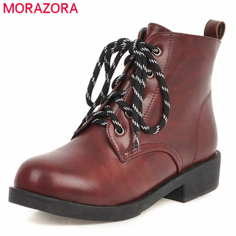 MORAZORA 2020 großhandel große größe 43 frauen stiefeletten runde kappe spitze up herbst winter stiefel mode einfachen casual schuhe damen